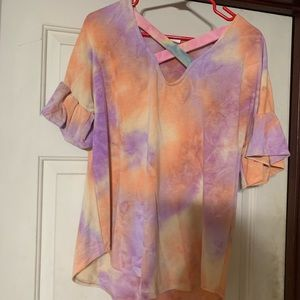 Purple/Orange Tie Dye Top